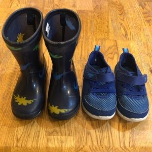 Toddler size 5 rain boots and shoe bundle